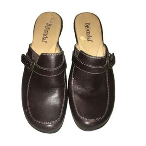 Bjorndal Brown Leather Kendall Mule Heeled Clogs